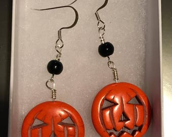 Jack O Lantern, Black Bead, Halloween Earring Set