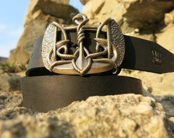 """Genuine leather belt with solid brass buckle """"Anchor Trident""""    Handmade&processed    Coat of arms buckle    Marine    Designer buckle"""