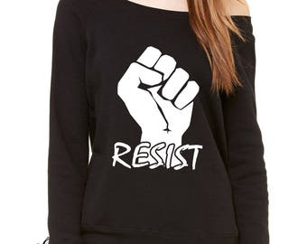 Resist Raised Fist Protest Slouchy Off Shoulder Oversized Sweatshirt