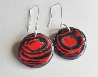 Black, red and silver polymer clay earrings (#0099)