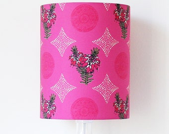 Pink and purple Erica wildflower handmade stand lampshade - Sale