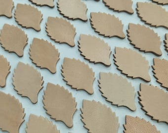 Leather Leaves, 40mm. High, 50 Pcs., Vegetable Tanned Leather, Natural, Leather Leaves Die Cut, Leaves Shape, Leaves, Leaves Cut Outs.