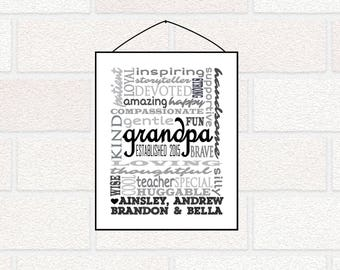 Grandpa Father's Day gift - Grandpa PRINTABLE Gift - Gift from grandchildren, Grandpa Established Sign, Grandad gift, printable Father's Day