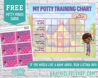 Printable Doc McStuffins Potty Training Chart, FREE Punch Cards | Digital JPG Files, Instant download