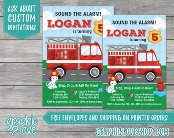 Fire Engine Personalized Birthday Invitation | Firefighter, Dalmatian | 4x6 or 5x7, Digital File or Printed, FREE US Shipping & Envelopes