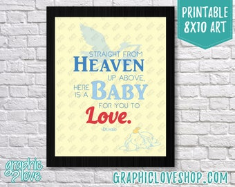 Printable 8x10 Dumbo Baby to Love Typography Art | Digital JPG File, Instant Download