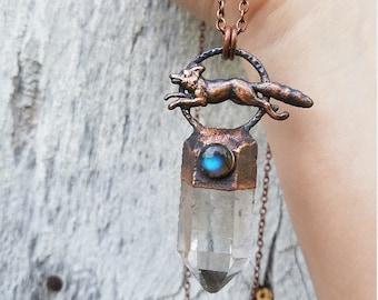 Fox Crystal Necklace-Fox Jewelry-Fox Totem Necklace-Quartz Fox Necklace-Forest Fox Necklace-Folk Style Jewelry-Labradorite Crystal Necklace
