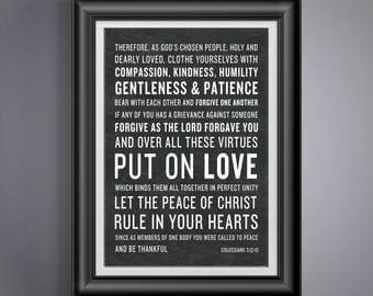 Newlywed Gift for Christian Compassion Kindness Humility Scripture Colossians 3:12-15 Graduation Gift for Seminary Student Dorm Room PP 944
