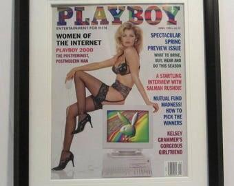 Vintage Playboy Magazine Cover Matted Framed : April 1996 - Samantha Torres