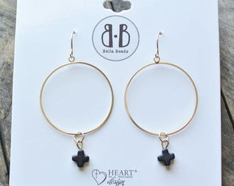 Black Stone Cross 14K Gold Dipped Earrings Cross / 14K Dipped Earrings / Gift For Women