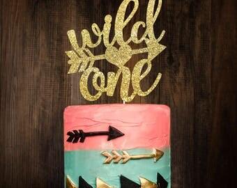 Wild one cake topper, gold cake topper, birthday decoration