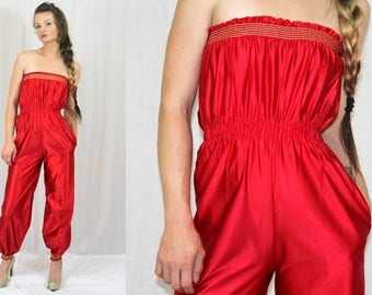 Vintage 80s Red Shiny Strapless Retro DISCO Party Jumpsuit Romper Playsuit NOS S