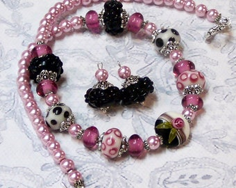 Black and pink lampwork, Necklace and earrings set, clip on or pierced fittings
