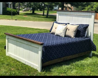 Farmhouse Bed. Headboard. footboard. Rustic bed. Rustic home decor. Vintage. Bed frame. Queen. Full. Twin.
