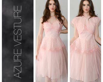1950s Party Prom Dress. 50s Formal Dress, Cupcake, Princess dress, Tulle Dress, Pleated Dress, Ribbon Dress