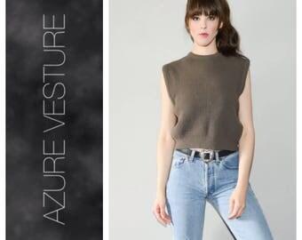 90s Crop Top. Medium. 1990s 1980s Knit Crop Top. Knit Vest. Taupe Minimalist Chic. Normcore