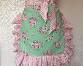 Vintage Style Apron/ Pin Up Apron/ Ruffled Apron/floral apron