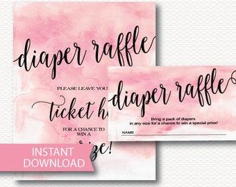 Diaper Raffle Baby Shower Invitation Insert & Sign, Pink Watercolor, Girl, Typography, Modern, Digital, Printable Download B136