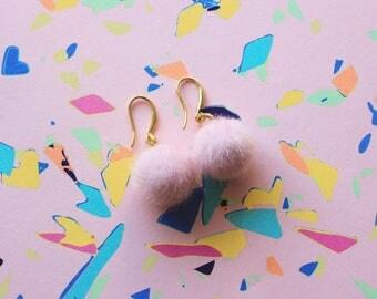 Baby Pink Mini Pom Pom Earrings | Kawaii Pastel Pink Dangle Fluffy Ball Earrings