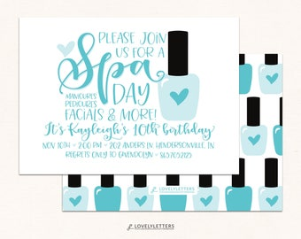 Spa Day Party / Pamper Party Invite / DIGITAL / Spa Birthday / Spa Invite / Spa Party / Mani Pedi Party / Manicure Party / Manicure Birthday