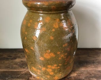 Redware Jar Or Crock With Mottled Green And Orange Glaze, New England, First Half 19th Century