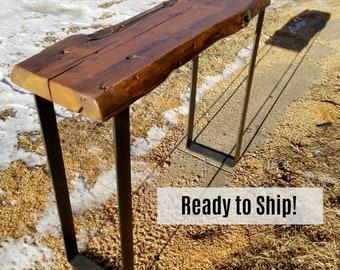 Entry Hall Table, Reclaimed Wood Table, Console Table, Modern Leg Table, Farmhouse Table, Side Table, entryway organizer, Natural Edge Table