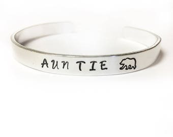 Auntie bear hand stamped cuff bracelet baby shower, pregnancy announcement, birthday gift aunt tia sister niece
