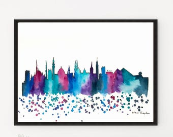 Cairo Skyline, City art, Cityscape painting, Watercolor Painting, Illustration Print, Travel art, Modern art Home Decor, Holiday Gift