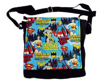 Female Superhero Handbag (Blue).  Wonder Woman, Supergirl and Batgirl messenger style bag, the perfect gift for any lover of superheroes.