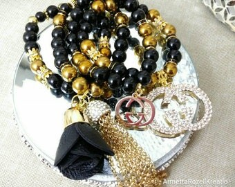 Designer Inspired Black & Gold Hematite Charm Bracelet Set, anniversary gifts, birthday gifts, mother's day gifts, gifts for her