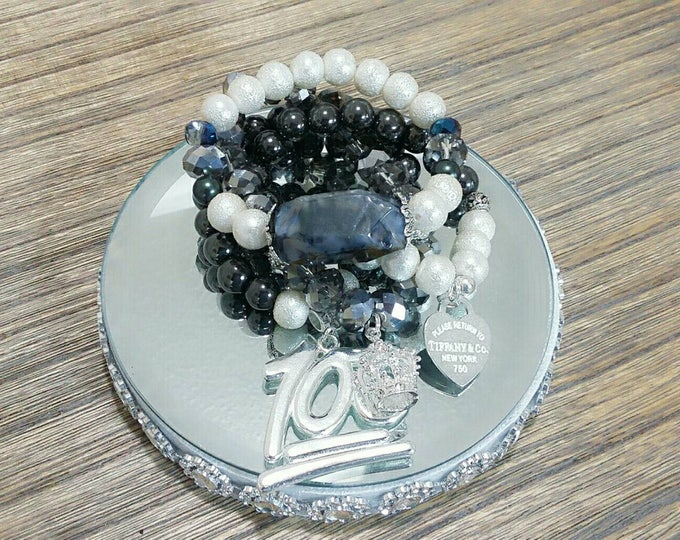 "Designer Inspired Luxury ""100"" Queen Charm Bracelet Set"