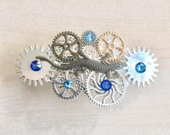 Barette lizard with COGS, gears and blue Swarovski Crystal