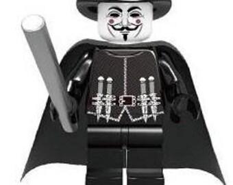 V for Vendetta Guy Fawkes Custom Minifigure 100% Lego Compatible!