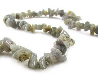Labradorite Chips, Labradorite Gemstone Chips, Bead Strand, Semi Precious Beads, Natural Labradorite Chip Stones, 16 inch strand