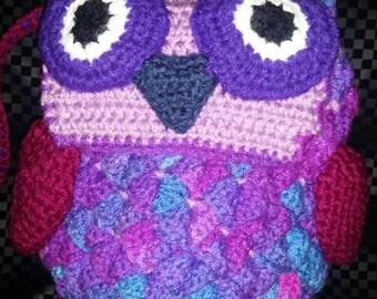 Handmade Crochet Owl Handbag -Purple Rainbow