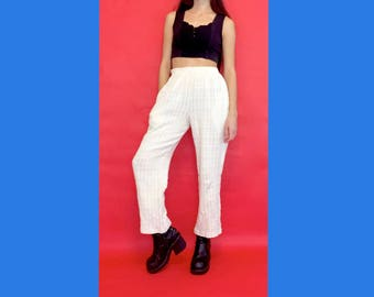 Vintage 90s Y2k White High Waisted Stretchy Crocheted Knit Pants Trousers Size Medium