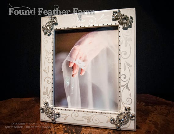 Large Handmade Bridal Wedding Frame with Jewels and Crystals