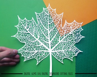 Leaf paper cut svg / dxf / eps / files and pdf / png printable templates for hand cutting. Digital download. Commercial use ok