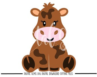 Cow svg / dxf / eps / png files. Digital download. Compatible with Cricut and Silhouette machines. Small commercial use ok.