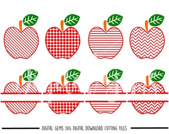 Teacher Apple, Split Apples svg / dxf / eps / png files. Digital download. Compatible with Cricut and Silhouette machines. Commercial use ok