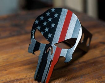 Punisher Trailer Hitch Cover -Subduded Thin Red Line