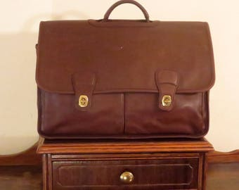 Coach Organizer Briefcase In Mahogany Leather With Laptop Sleeve & Brass Hardware Style No 532- VGC- Strap Missing