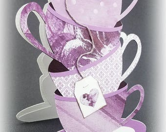 Handmade Stacked Lavender and Purple Teacups  Card