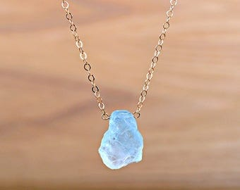 Raw Aquamarine necklace, Rustic March Birthstone, Raw Crystal Necklace, Rough Blue Gemstone Necklace: 14K Rose Gold Filled, Sterling Silver
