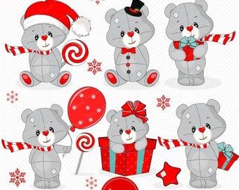 80% OFF SALE Christmas teddy clipart, Christmas clipart, Teddy clipart, Christmas clip art, Christmas digital graphics - SEA110