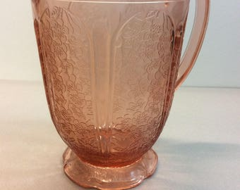 "Jeannette Glass Pink Depression "" Cherry Blossom "" Antique All Over Pattern Scalloped Bottom 36 oz. Made 1930- 1939"
