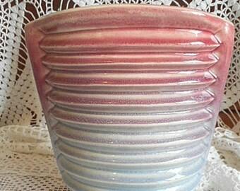 Diana Pottery Australia 1950's Vase  ~ Hollywood Rose Pink & Duck Egg Blue