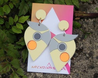 Cockatiel Parrot Bird Earrings - abstract laser cut acrylic plastic