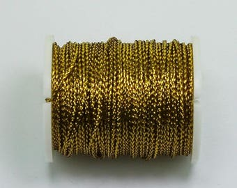 100m Antique Gold Metallic Braided Rayon Cord Craft Thread Twine, 0.8mm thick, Christmas Ornaments Macrame Dreamcatcher Webbing 35TH02-D
