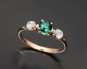 Emerald ring, Rose gold ring, Three stone ring, Elegant ring, Promise ring for her, Women promise ring, Emerald jewelry gold